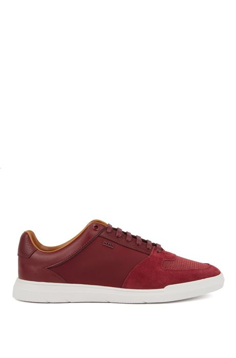 Low-top trainers in hybrid materials, Dark Red