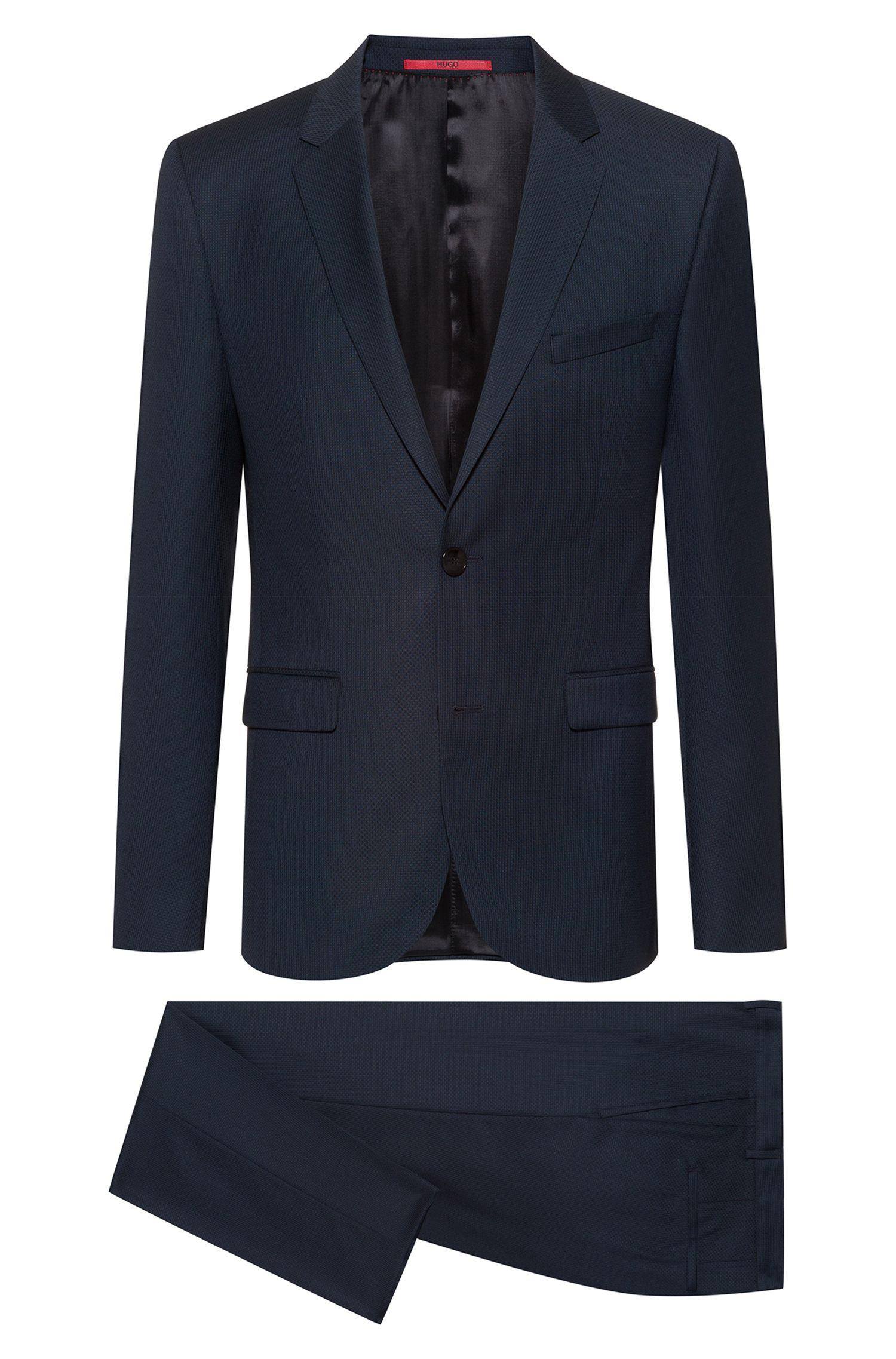 Costume Extra Slim Fit en laine vierge à motif, Bleu foncé