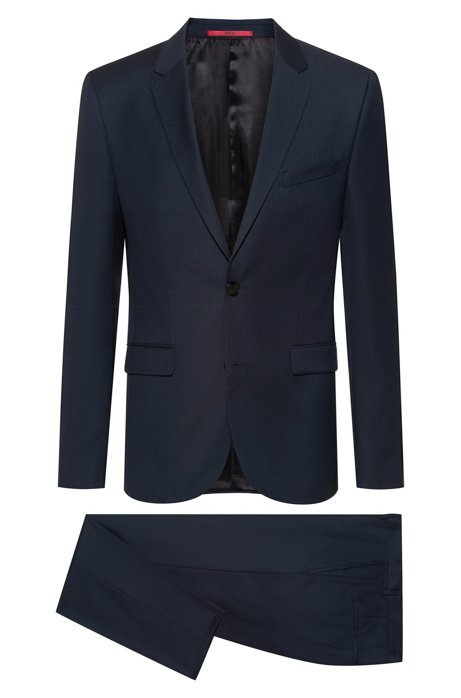 Extra-slim-fit suit in patterned virgin wool, Dark Blue