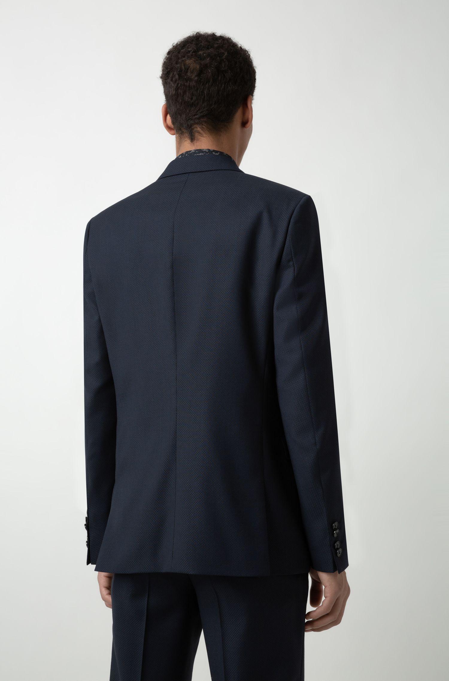 Extra slim-fit kostuum van scheerwol met dessin, Donkerblauw