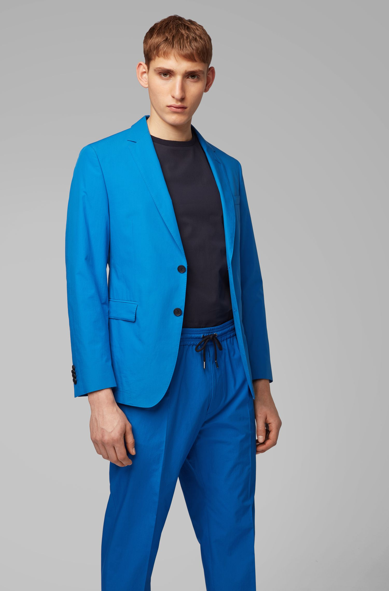 Slim-fit jacket in pure cotton with AMF stitching, Blue