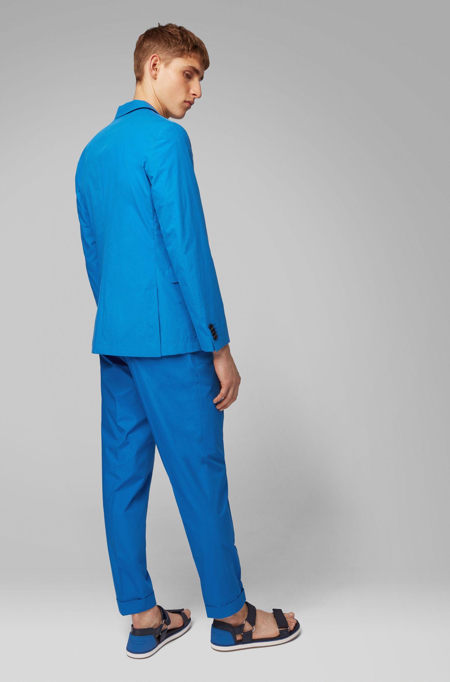 Slim-Fit Sakko aus reiner Baumwolle mit AMF-Nähten, Blau