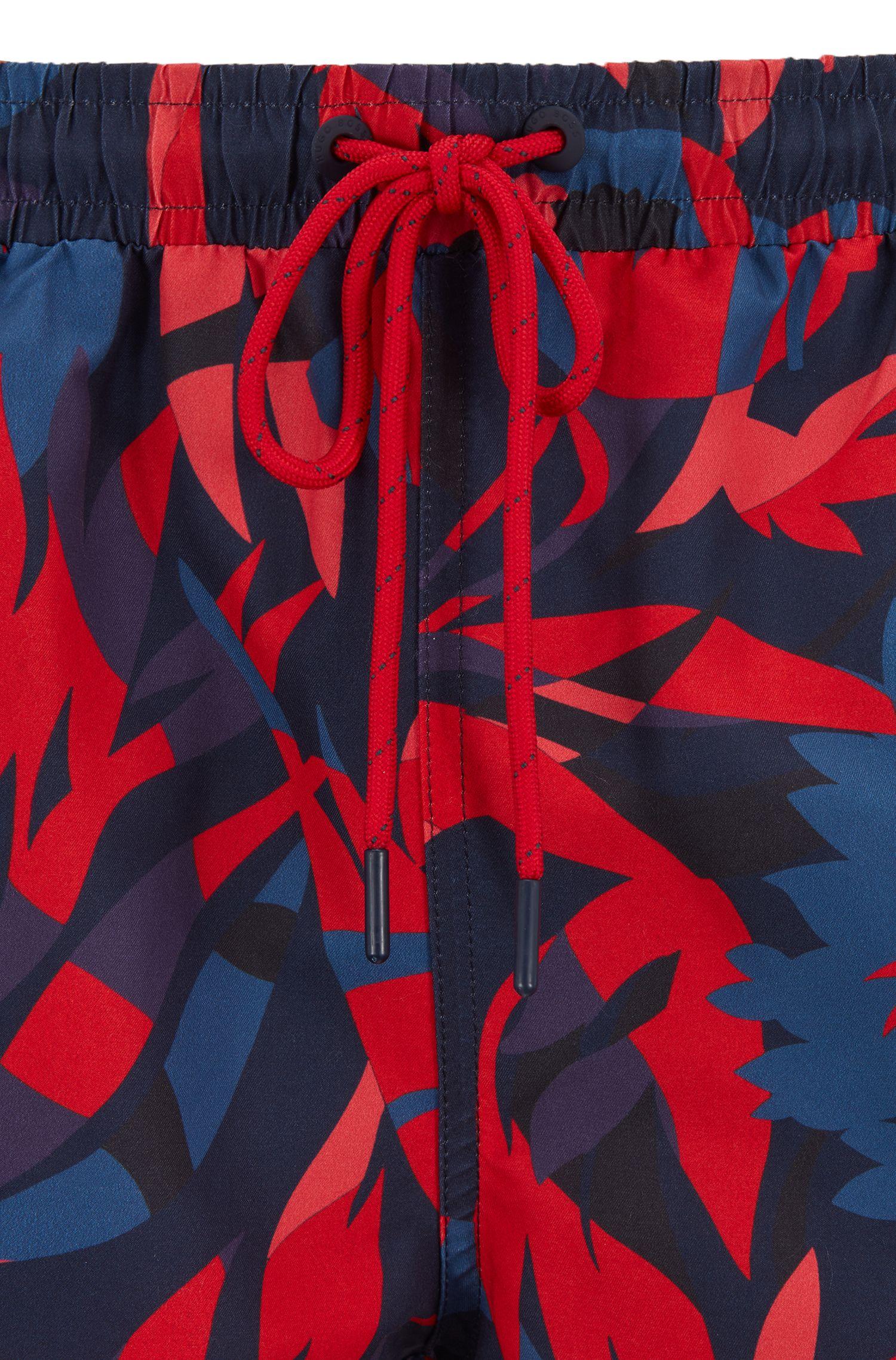 Bañador tipo shorts en tejido de secado rápido con logo, Rojo