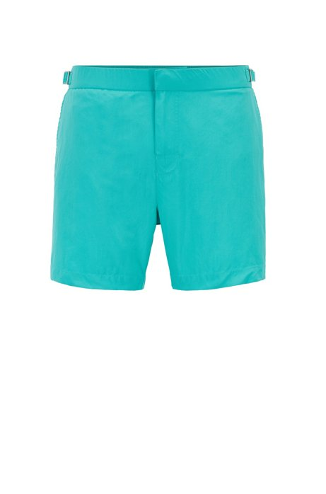 Quick-dry printed swim shorts with waistband adjiusters, Turquoise