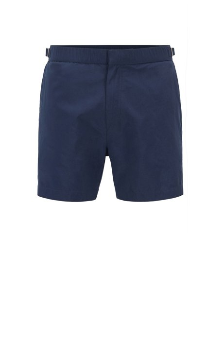 Quick-dry printed swim shorts with waistband adjiusters, Open Blue