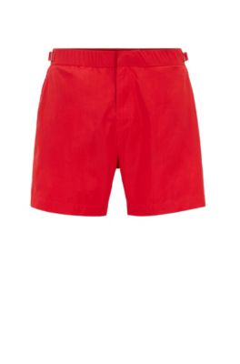 Quick-dry printed swim shorts with waistband adjiusters, Red