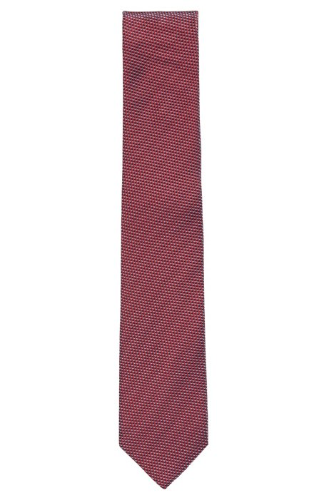 Italian-made tie in micro-patterned jacquard, Red