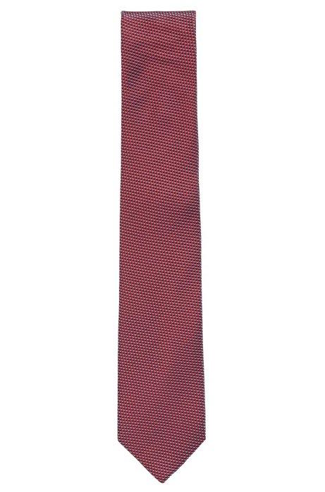 Cravate confectionnée en Italie en jacquard à micromotif, Rouge