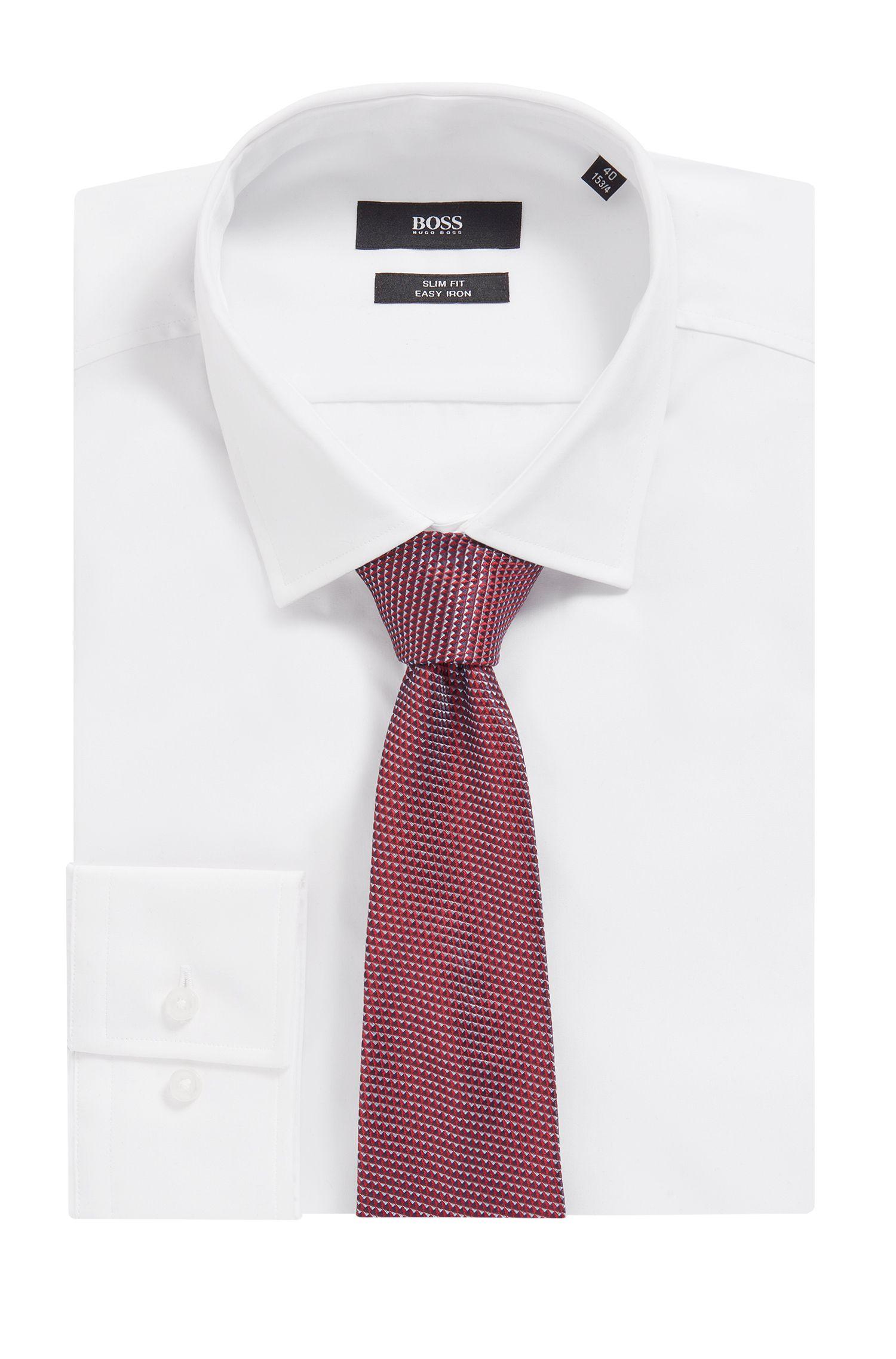 In Italien gefertigte Krawatte aus fein gemustertem Material-Mix mit Seide, Rot