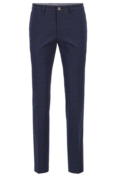 Extra-slim-fit trousers in a plain-check cotton blend, Dark Blue