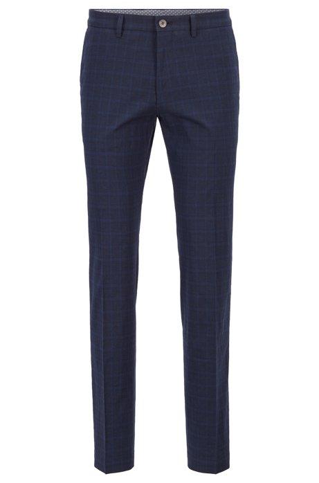 Extra slim-fit broek van een katoenmix met ruitdessin, Donkerblauw