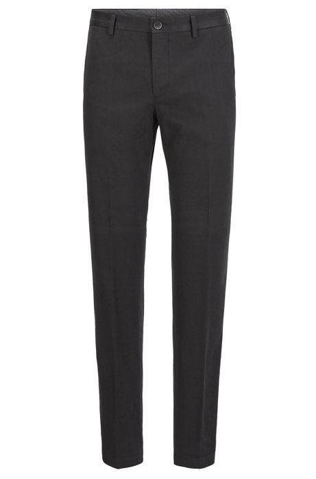 Slim-fit trousers in washed stretch cotton, Black