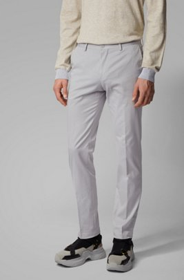 Slim-fit trousers in washed stretch cotton, Light Grey