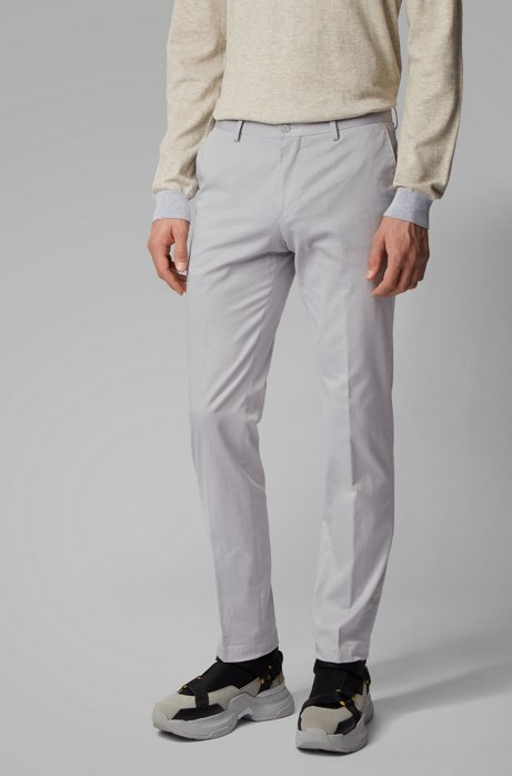 Slim-fit trousers in washed stretch cotton, Open Grey