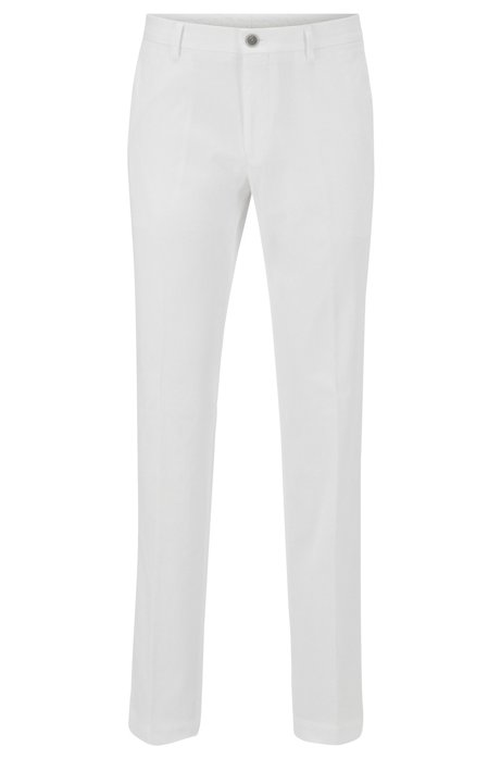 Slim-fit trousers in washed stretch cotton, White