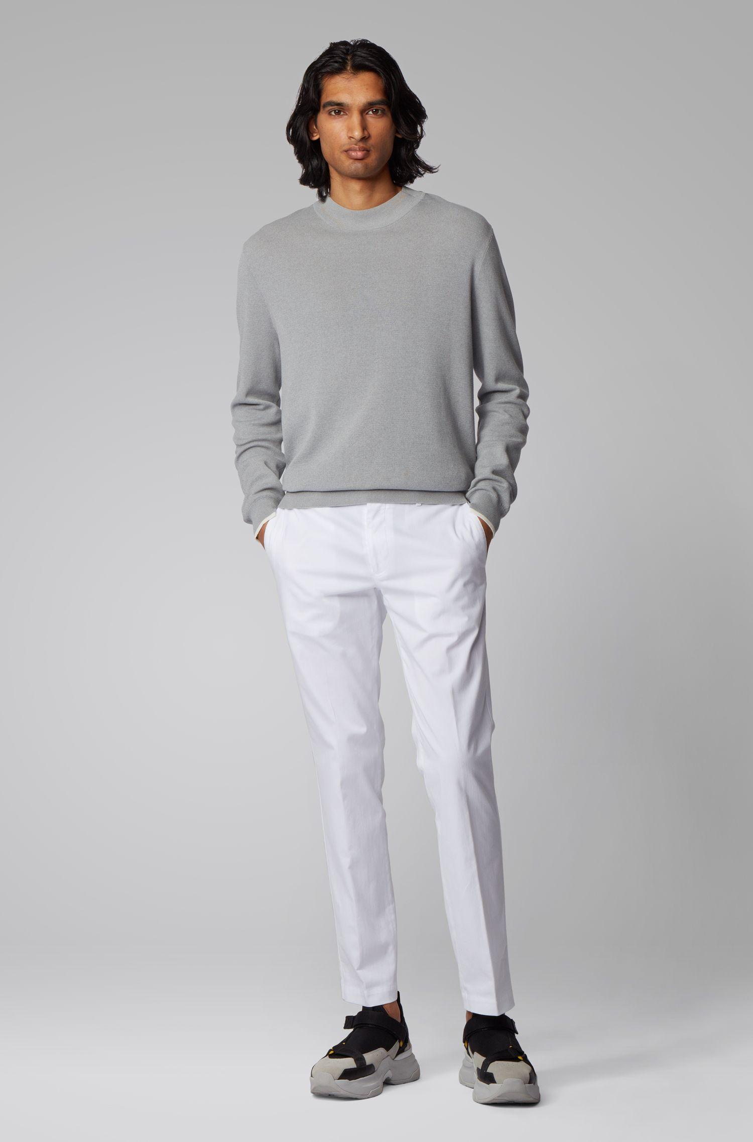 Slim-Fit Hose aus gewaschener Baumwolle mit Elasthan-Anteil, Weiß