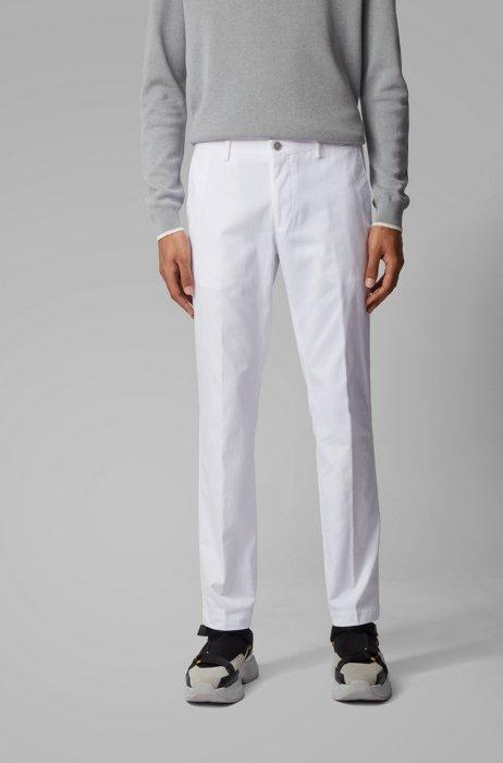 Slim-fit broek van gewassen stretchkatoen, Wit