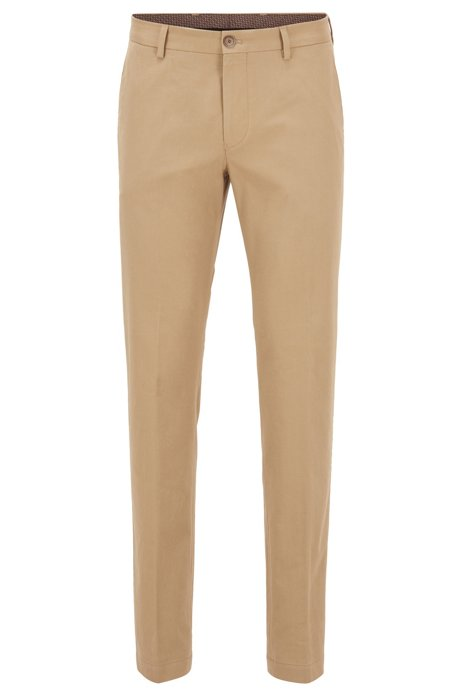 Slim-fit trousers in washed stretch cotton, Light Brown