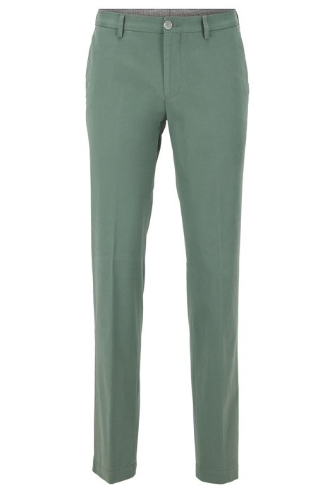 Slim-fit trousers in washed stretch cotton, Green