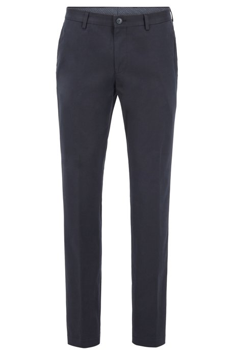 Slim-fit trousers in washed stretch cotton, Blue