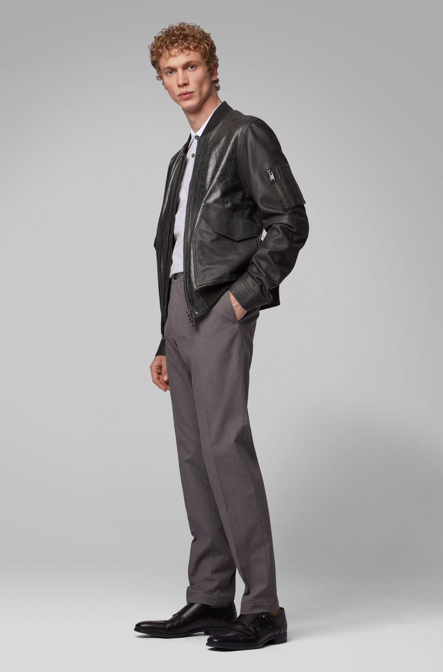 Extra Slim-Fit Hose aus melierter Stretch-Baumwolle, Grau
