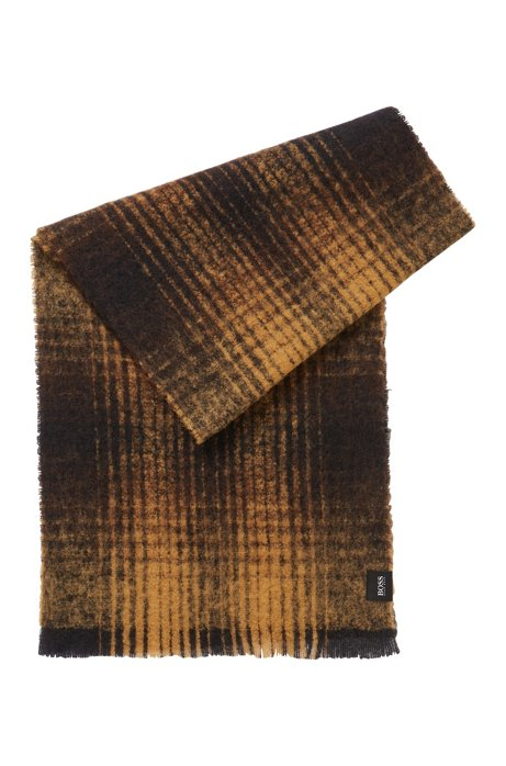 Checked scarf in a wool blend, Beige