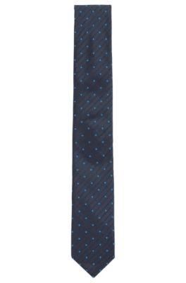 Gedessineerde zijden stropdas in een jacquard met logo-dessin, Donkerblauw