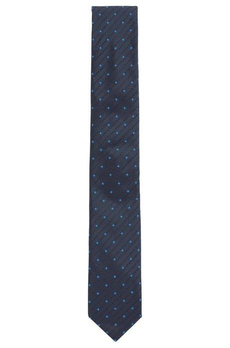 Gemusterte Krawatte aus Seiden-Jacquard mit Logo-Motiv, Dunkelblau