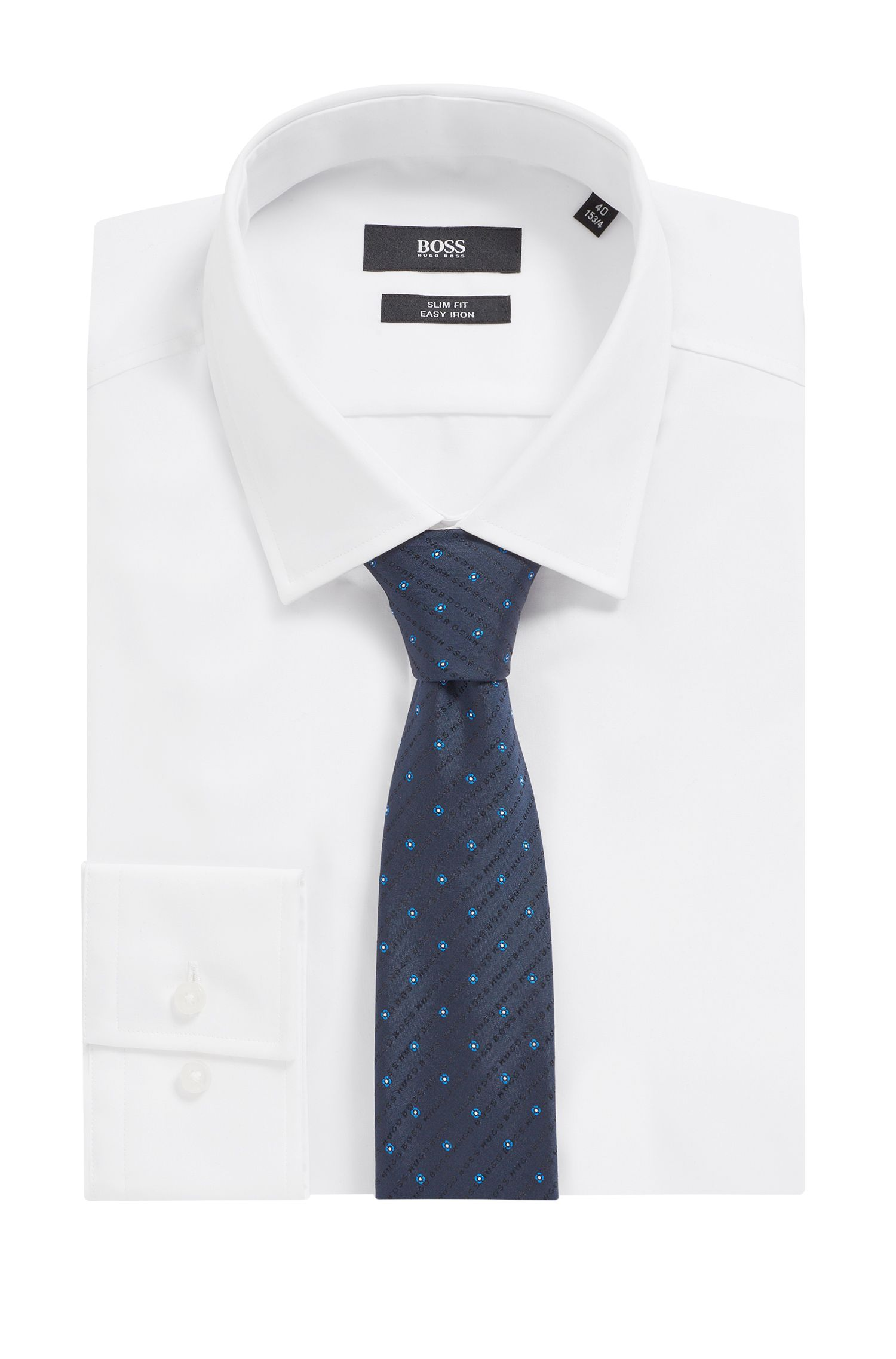 Cravatta in seta jacquard a motivi con logo, Blu scuro