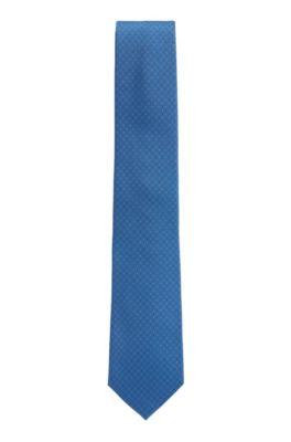 In Italien gefertigte Krawatte aus gemustertem Seiden-Jacquard, Blau