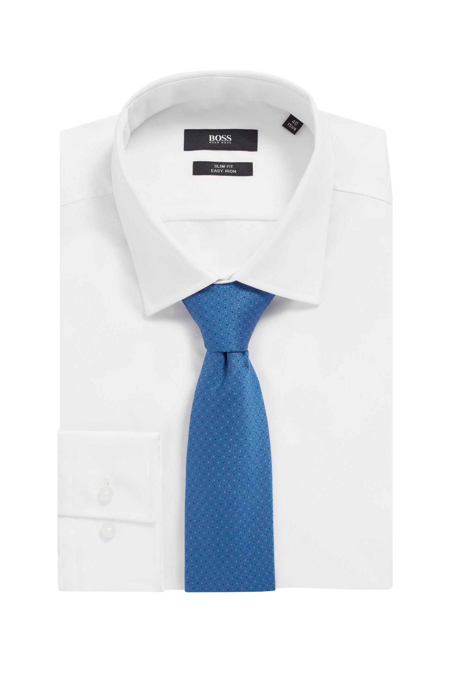 Cravate en jacquard de soie à motif, confectionnée en Italie, Bleu