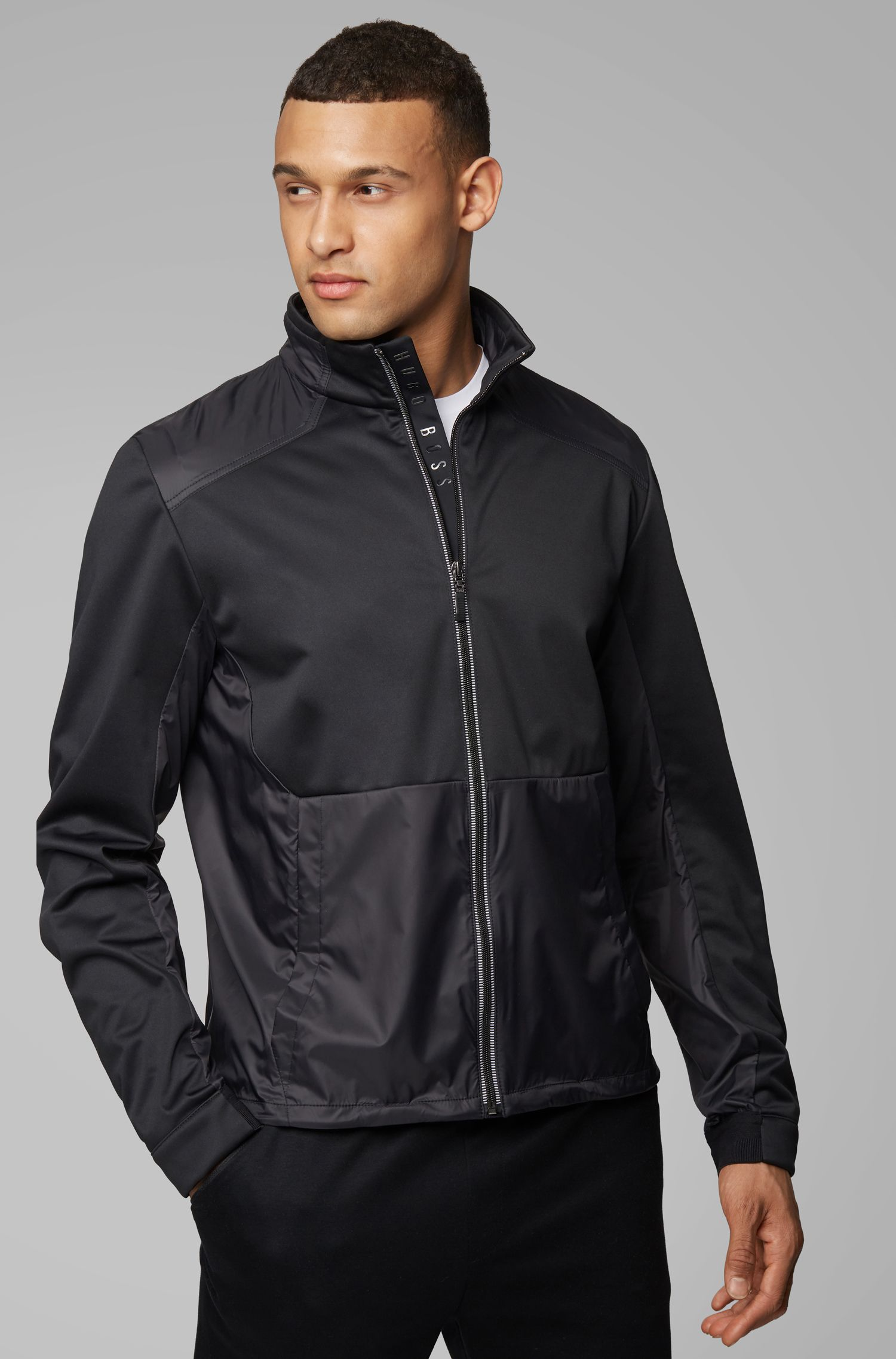 Lightweight jacket in water-repellent shell fabric, Black