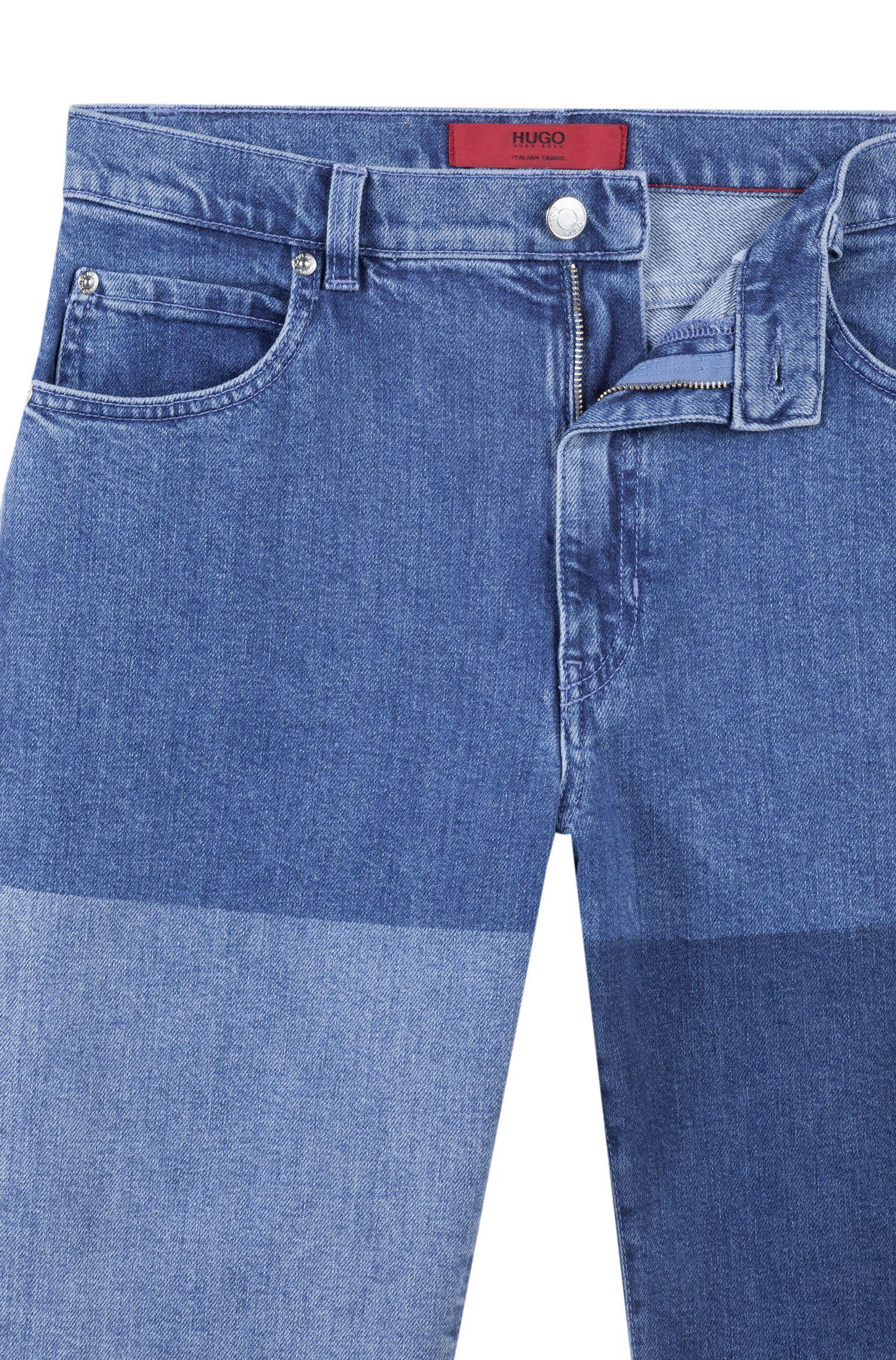 Kortere slim-fit jeans van Italiaans stretchdenim, Blauw