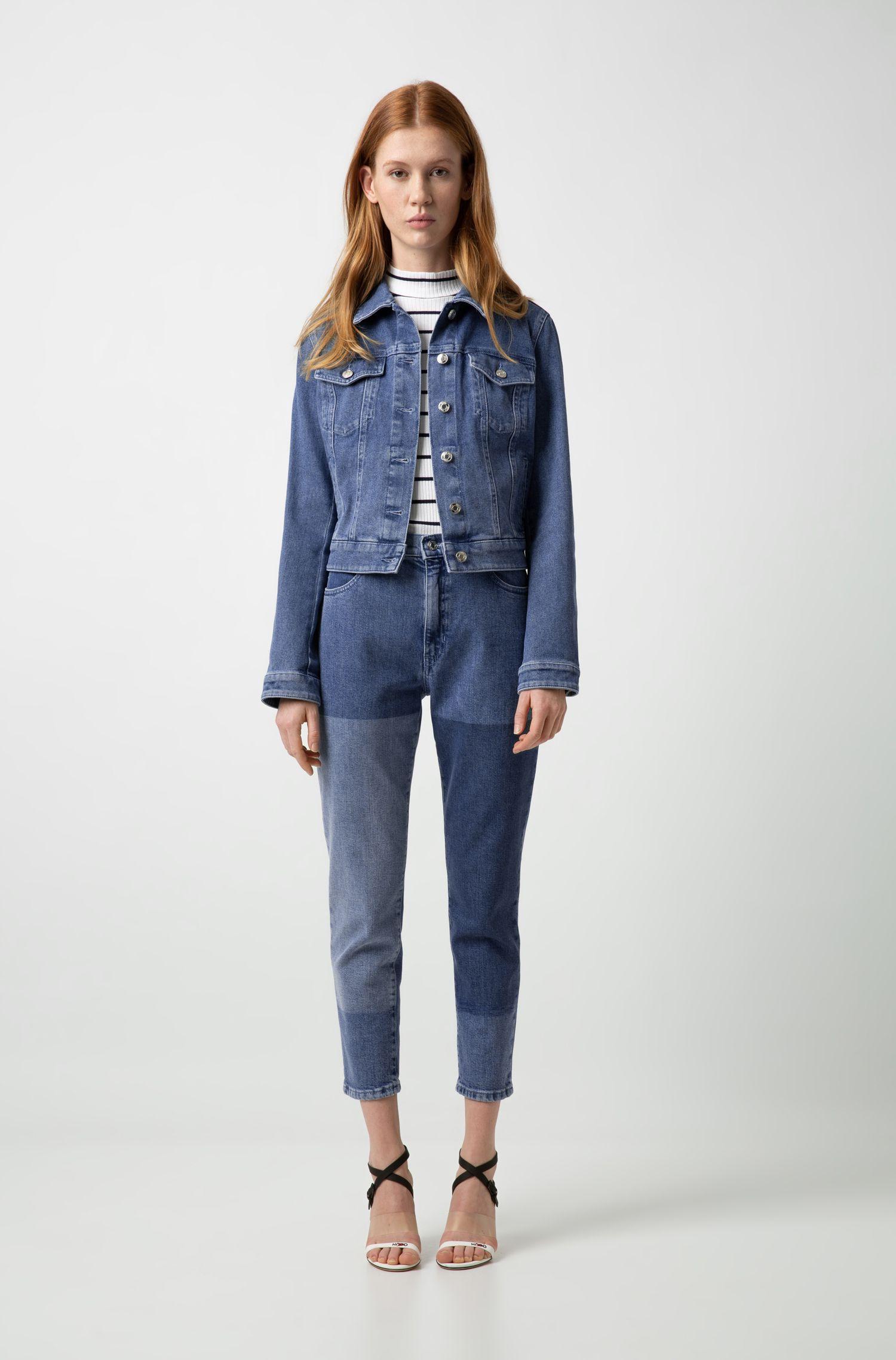 Jeans slim fit alla caviglia in denim elasticizzato realizzato in Italia, Blu