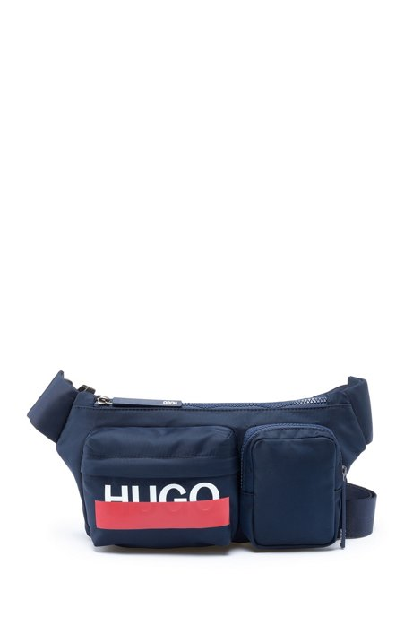 Logo-print multi-pocket belt bag in nylon gabardine, Dark Blue