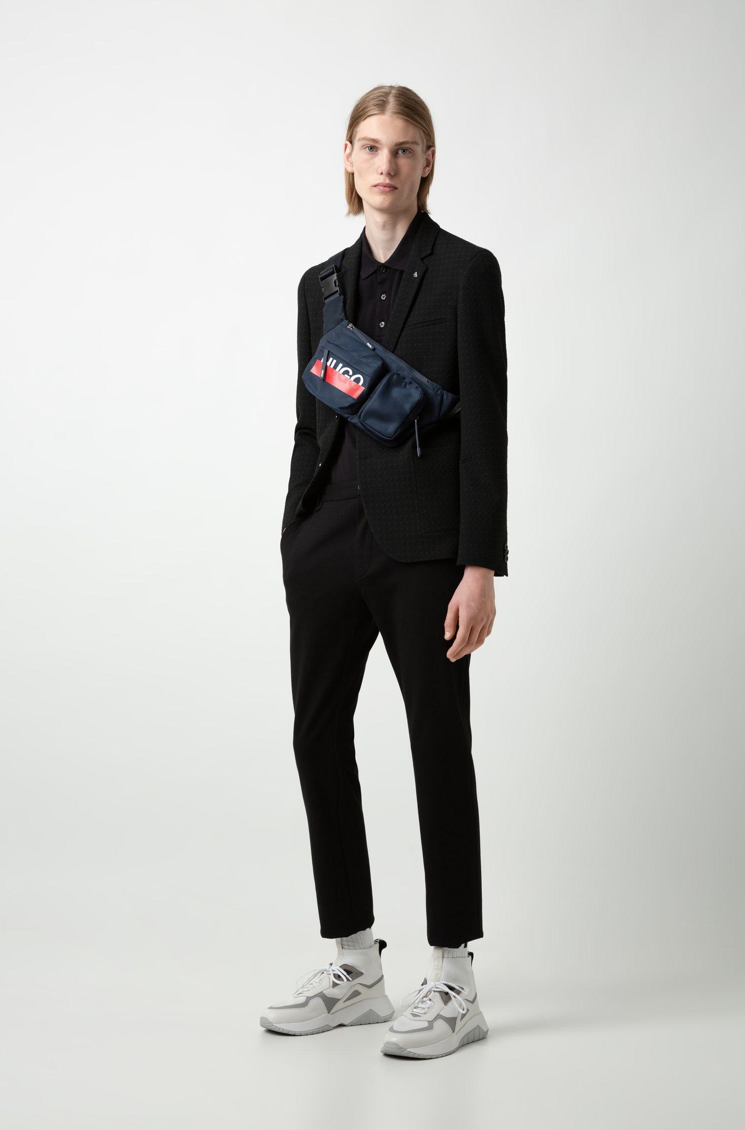 Logo-print multi-pocket belt bag in nylon gabardine, Dark Blue