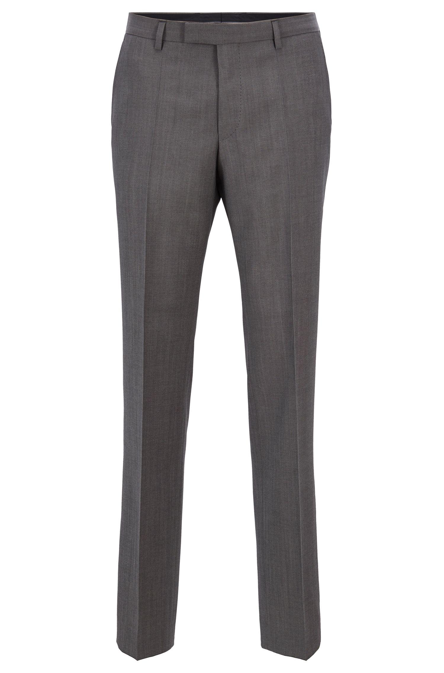 Regular-fit broek van gemêleerde scheerwol, Grijs