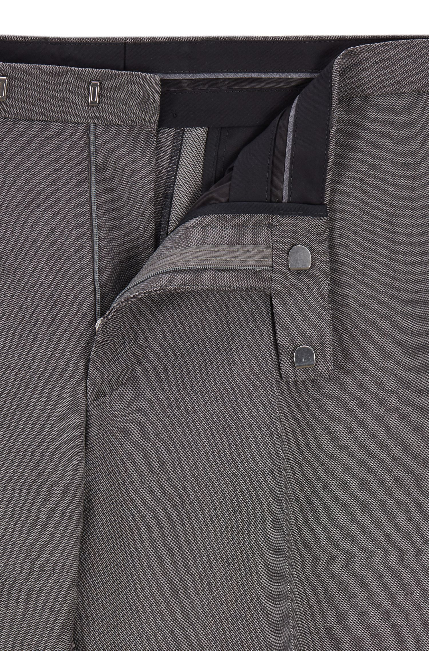 Regular-Fit Hose aus melierter Schurwolle, Grau