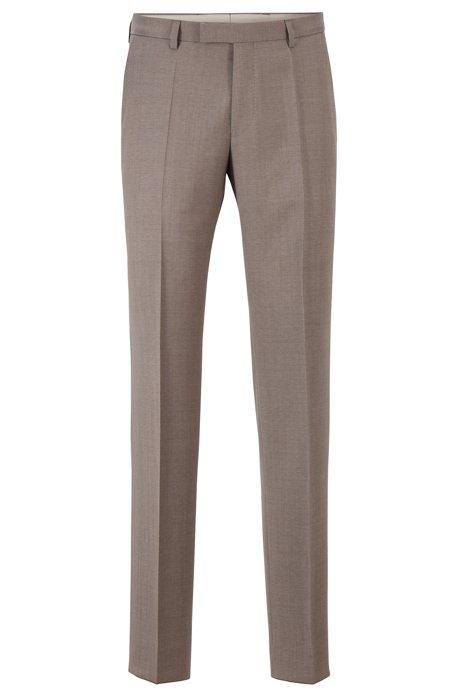 Regular-fit trousers in melange virgin wool, Beige