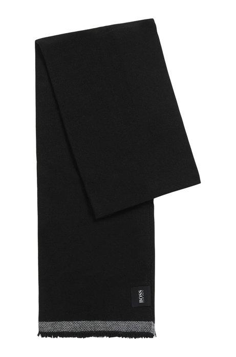 Bufanda de sarga jaspeada con detalle en contraste, Negro