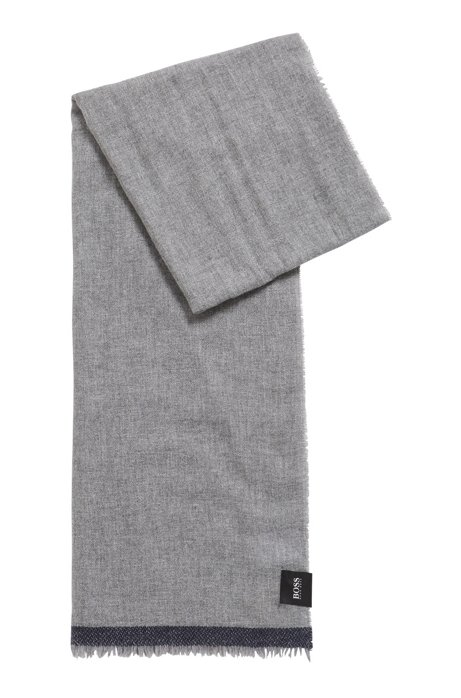 Melange twill scarf with contrast detail, Dark GreyDark Grey