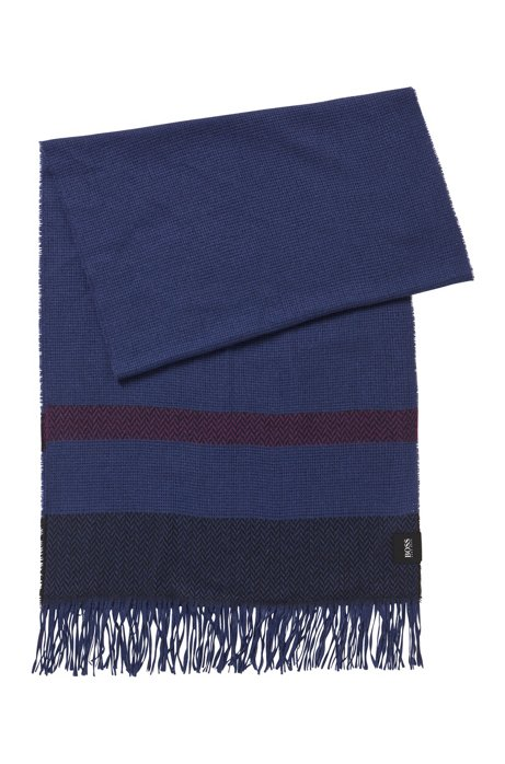 Fringed scarf with herringbone block stripes, Dark Purple