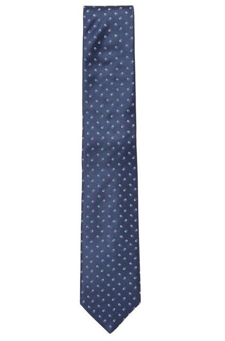 Italian-made tie in pure silk with micro pattern, Dark Blue