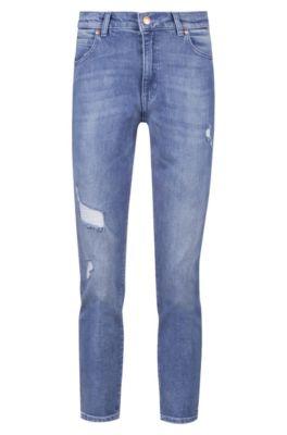 Regular-fit cropped jeans in Italian comfort-stretch denim, Blue