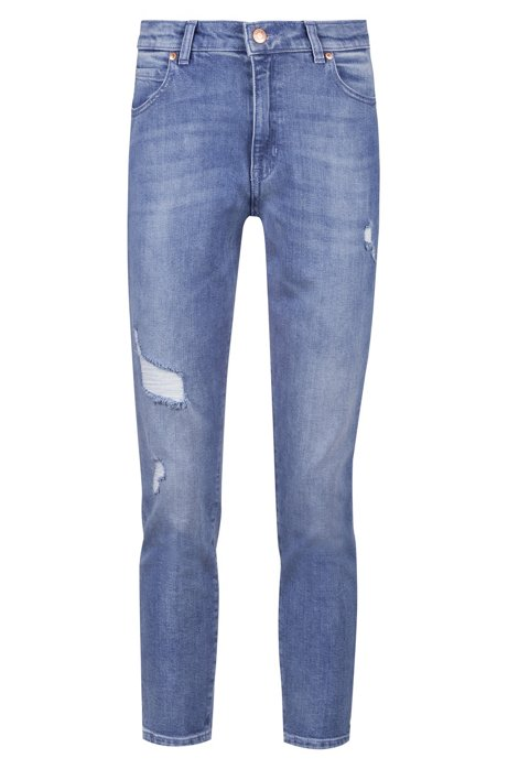 Regular-fit cropped jeans in Italian comfort-stretch denim, Blue