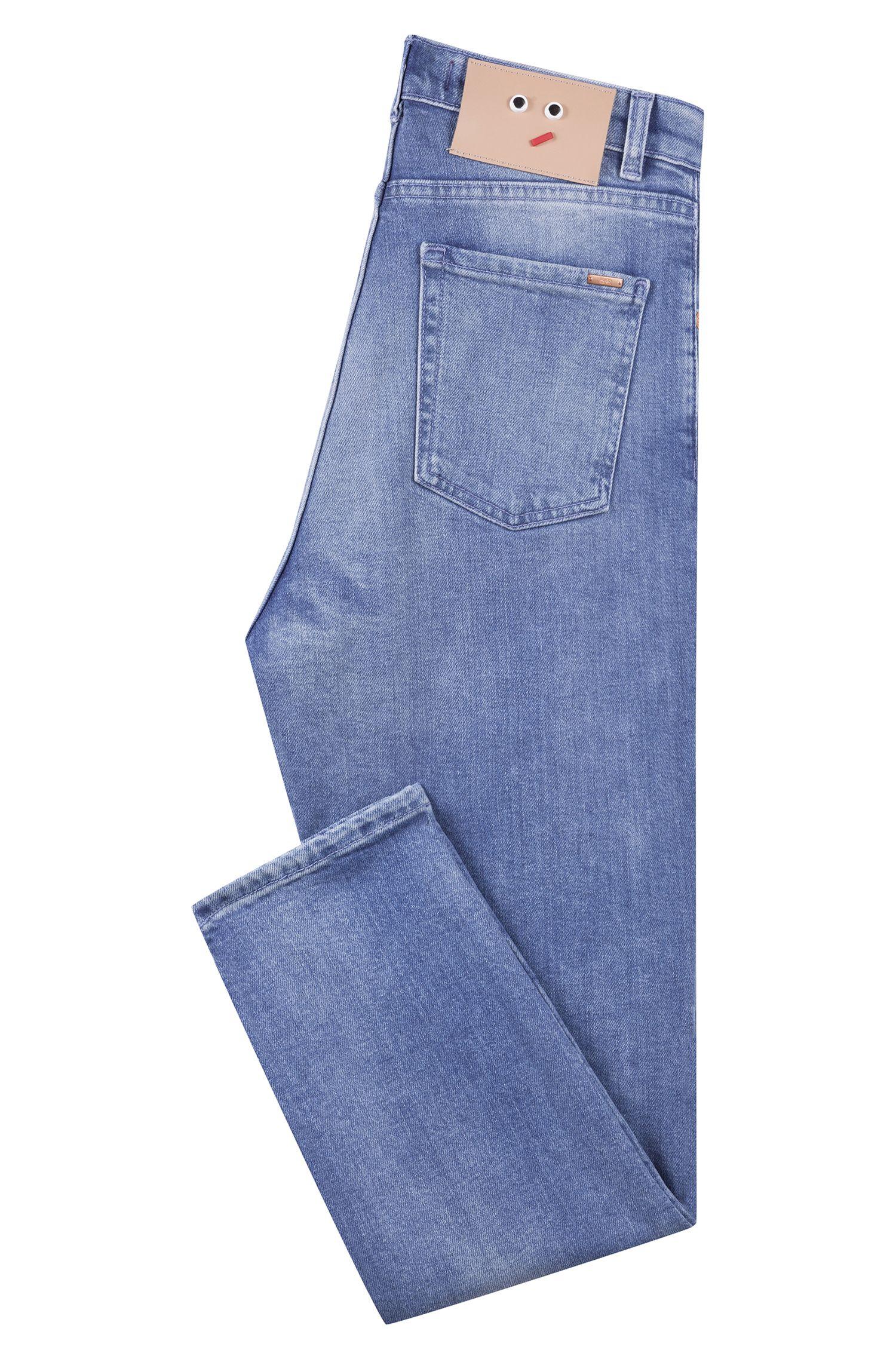 Regular-fit, cropped jeans van Italiaans, comfortabel stretchdenim, Blauw
