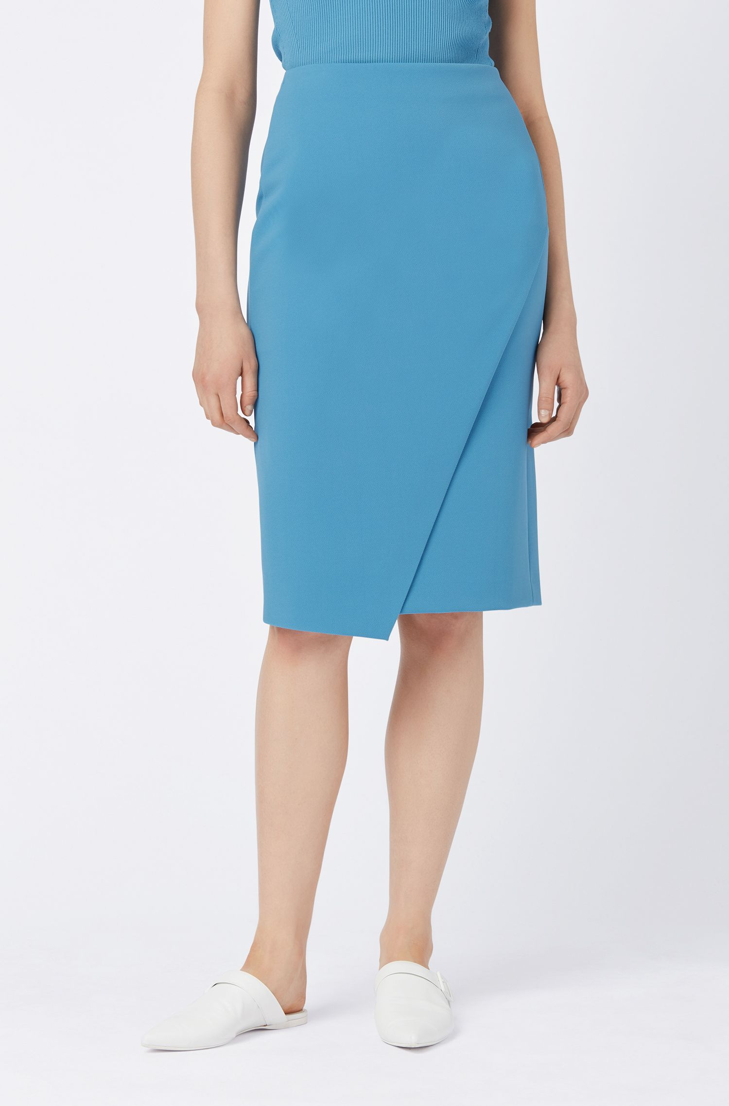 Slim-fit pencil skirt with wrap front, Blue