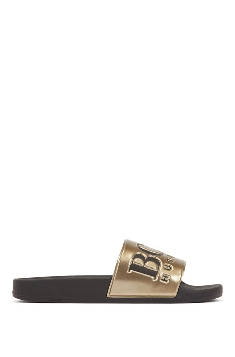 Logo slides with metallic-finish strap, Gold