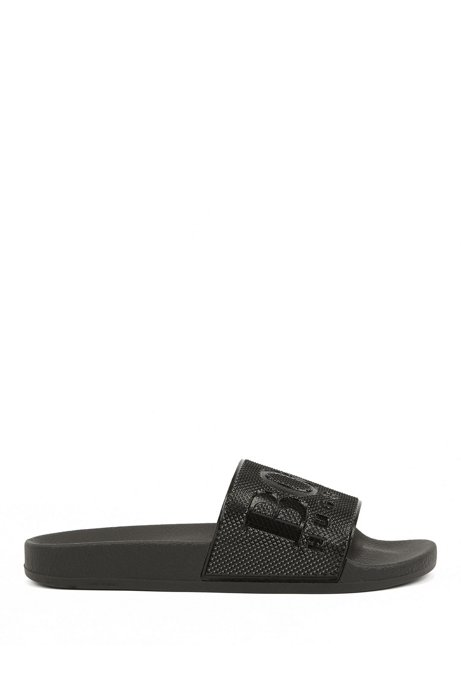 Italian-made slides with diamond-embossed logo strap, Black