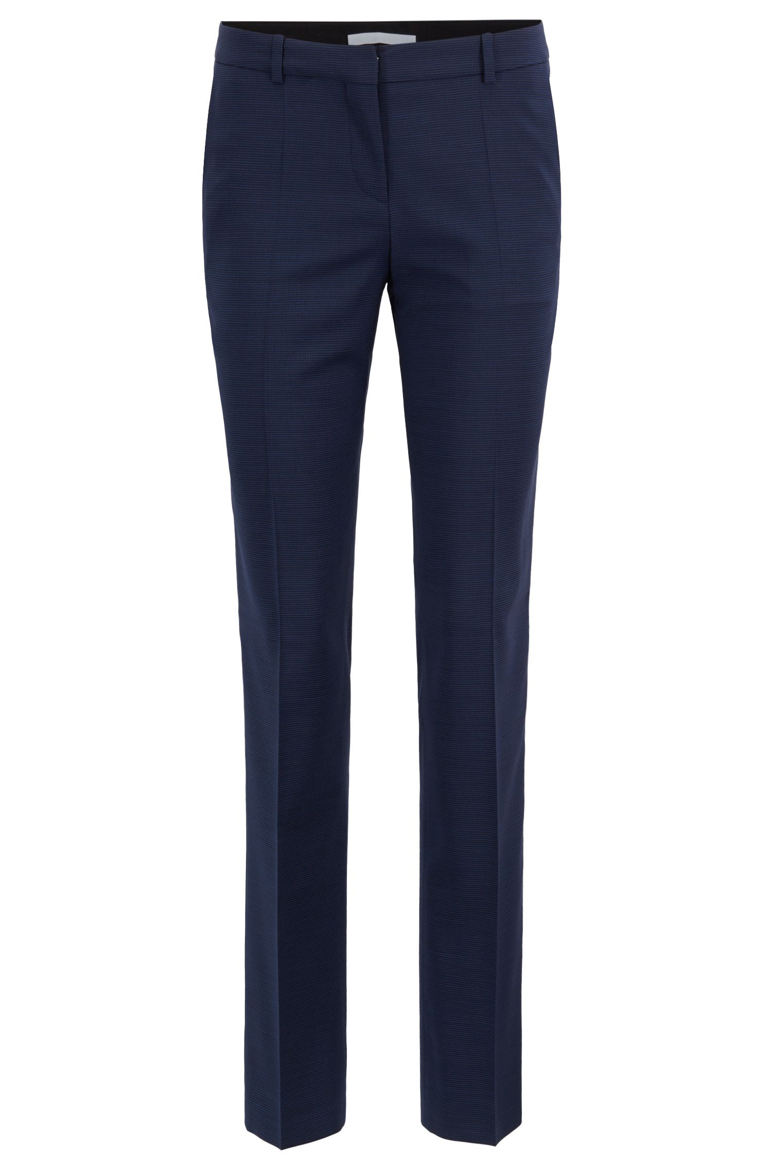 Slim-leg trousers in houndstooth Italian virgin wool, Patterned